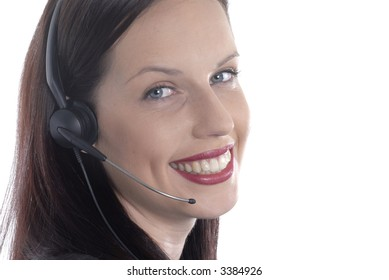 Attractive woman, telephone talking, customer service, isolated