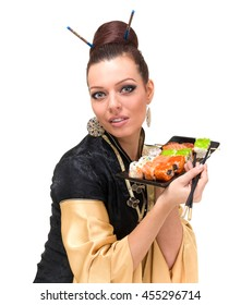 Attractive woman in traditional dress with eastern food, isolated on white background.
