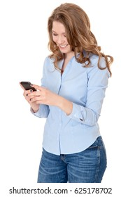 Attractive woman using smart phone. All on white background.