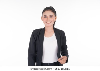 An attractive woman wearing business attire with various expressions isolated on white background. Suitable for image cut out and manipulation works for technology, business or finance theme.