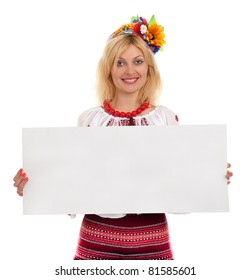 Attractive woman wears Ukrainian national dress is holding a poster