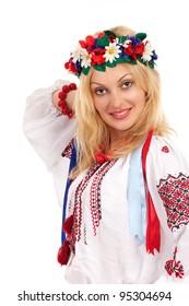 Attractive woman wears Ukrainian national dress