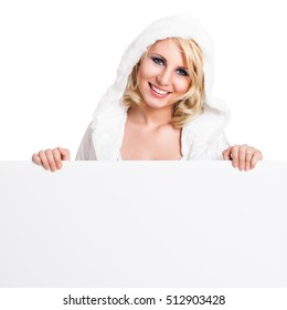 attractive woman in winter clothes isolated on white