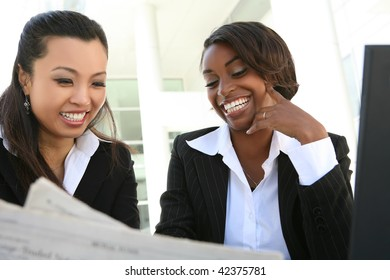 An attractive women business team working at office
