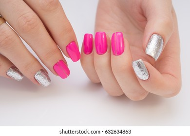 Attractive women's hands. Natural nails with beautiful manicure.