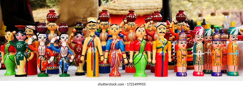 Attractive wooden toys made in souther part of India