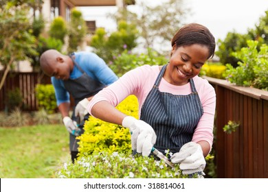 attractive young african woman gardening with her husband at home