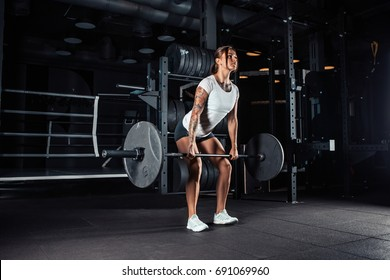 Attractive young athlete with muscular body exercising. Woman in sportswear doing crossfit workout