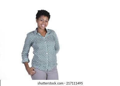 Attractive young black woman smiling isolated on white