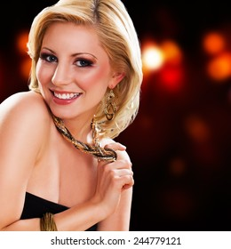 attractive young blonde smiling woman