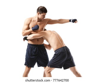 Attractive young boxers fighting on white background