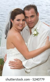 Attractive Young Brunette Bride and Groom