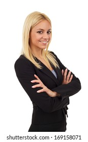 Attractive young business woman posing