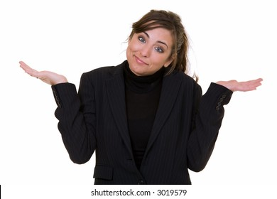 Attractive young business woman standing on white with hands out