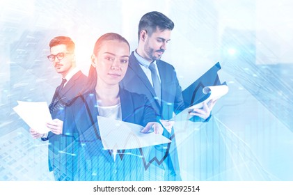 Attractive young businesswoman giving documents, man in glasses reading papers and businessman with clipboard standing together in city. Forex graph foreground. Toned image double exposure