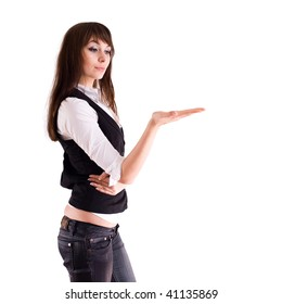 Attractive young businesswoman on white