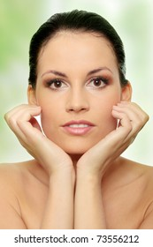 Attractive young caucasian woman face with perfect skin before spa.