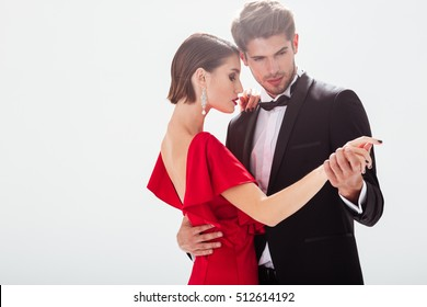Attractive young couple in love. dancing.