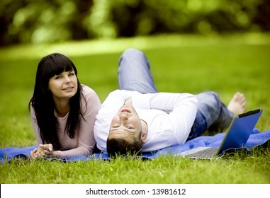 Attractive young couple spending time together outdoors
