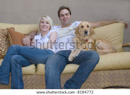 Attractive Young Couple Their Golden Retriever Stock Photo Edit Now
