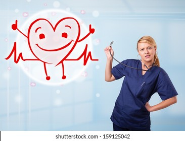 Attractive young doctor with happy red smiling heart