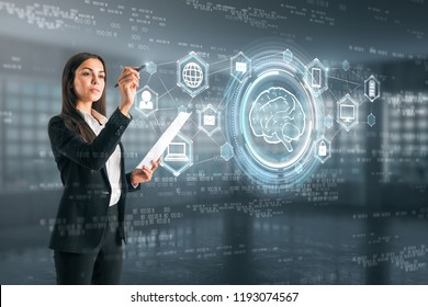 Attractive young european woman drawing creative ai interface in blurry interior. Future and robotics concept. Double exposure