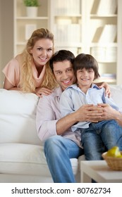 An attractive young family with a child at home