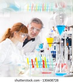 Attractive young female scientist and her senior male supervisor looking at the cell colony grown in the petri dish in the life science research laboratory (genetics, forensics, microbiology..)