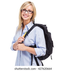 Attractive young female student with a black backpack over her shoulder