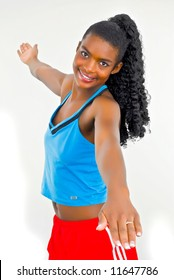 attractive young girl exercising
