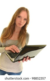 attractive young girl with laptop smiling