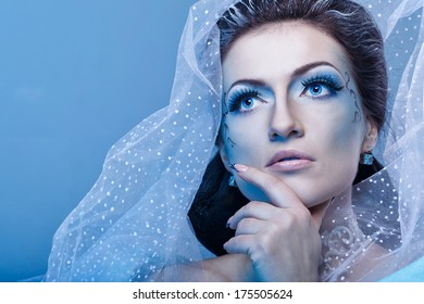 Attractive young girl with a theatrical makeup on the face in the image fabulous snow queen