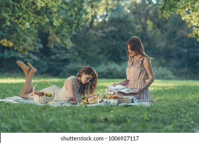 Attractive young girls at picnic