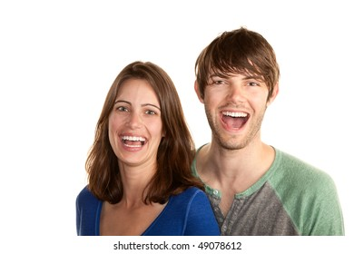 Attractive young hipster couple on white background