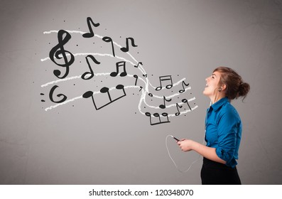 attractive young lady singing and listening to music with musical notes getting out of her mouth