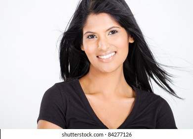 attractive young latin woman on white
