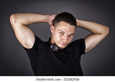 Attractive young man with headphones