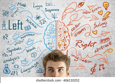 Attractive young man on concrete background with brain sketch. Creative and analytical thinking concept