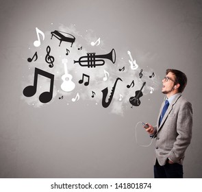 attractive young man singing and listening to music with musical notes and instruments getting out of his mouth