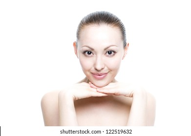 Attractive Young Mixed Asian Woman beauty shot with both hands under chin