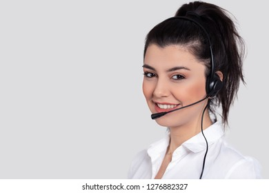 Attractive young people working in a call center.