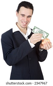 attractive young person businessman a over white background