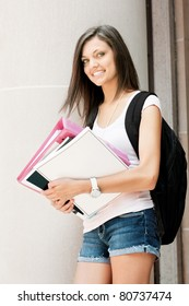 an attractive young student ready for class