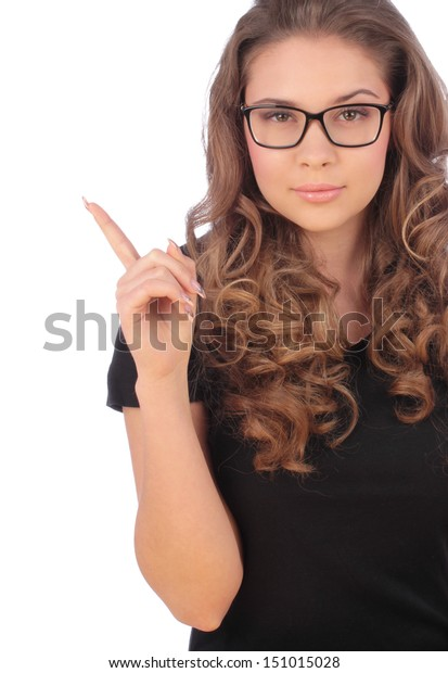 Attractive young teenager having a good idea - isolated over a white background