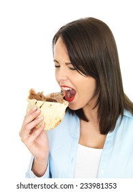 Attractive Young Twenty Something Woman Eating Donner Kebab