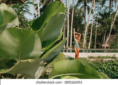 Attractive young  woman in bikini standing  near swimming pool with green plants on background.  Ubud, Bali, Indonesia