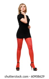 Attractive young woman in a black dress and red tights
