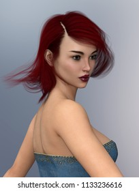 Attractive young woman with blowing hair Computer generated 3D illustration