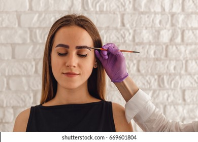 Attractive young woman customer with henna-colored eyebrows. Professional care for face.