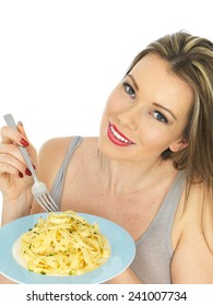 Attractive Young Woman Eating Tagliatelle Pasta